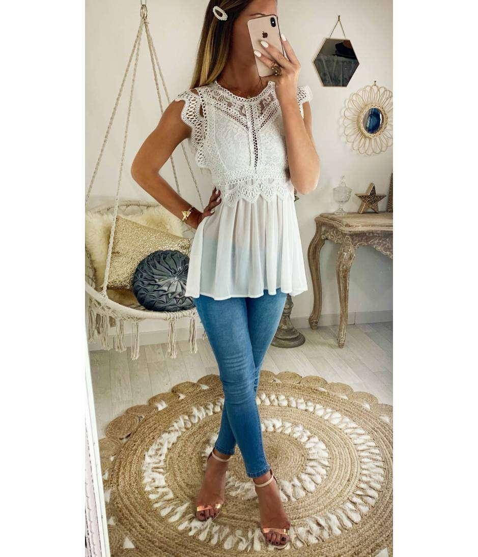 style distinctif profiter du meilleur prix pas de taxe de vente Ma jolie blouse blanche voilage et buste dentelle