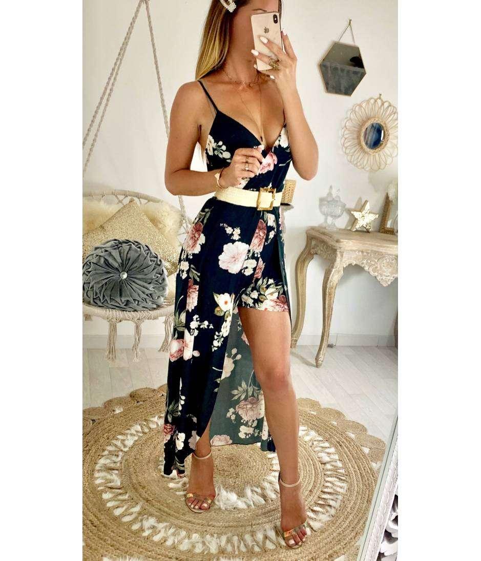Ma robe longue et son short noire & flowers pink
