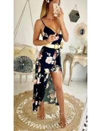Ma robe longue et son short noir & flowers pink