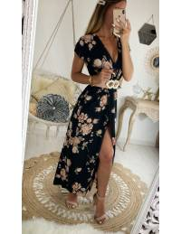 "Ma jolie robe longue cache coeur ""black & flowers pink"""