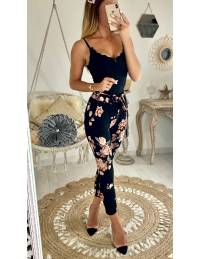 Pantalon black & flowers pink