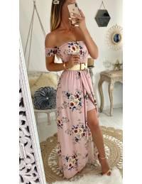 """Ma robe longue bustier """"rose pâle et jolies roses"""""""