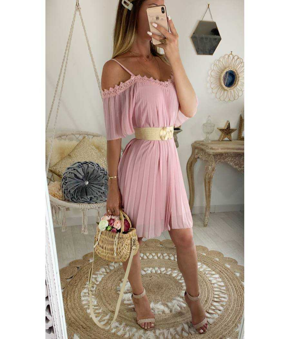 Ma petite robe pink col dentelle et plissée