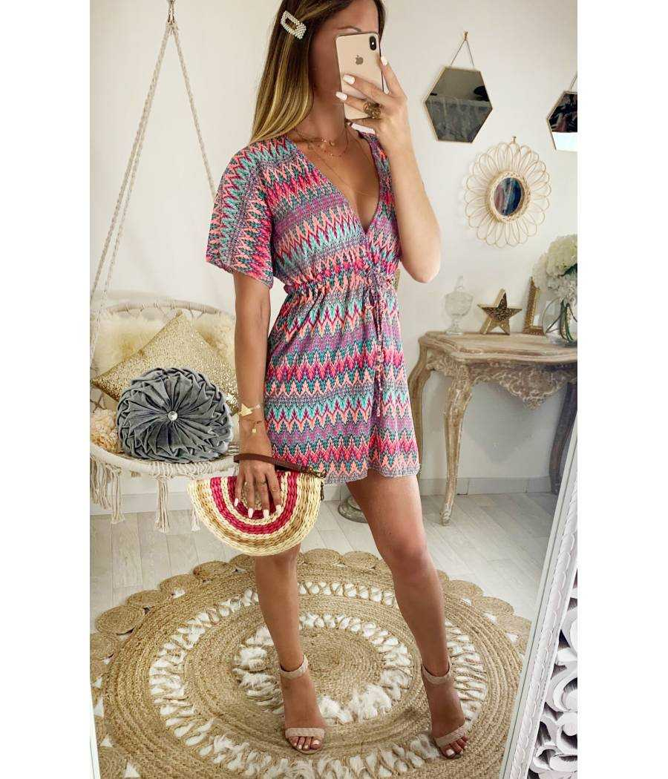 Ma petite robe de plage zig zag coloré