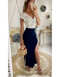 Ma jolie jupe longue marine boutonnée