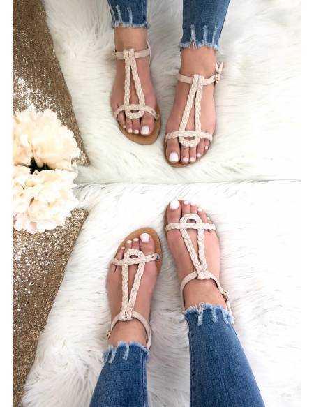 Mes petites sandales tressées rose nude et gold