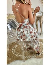 Ma jolie robe longue voilage imprimé et dos noué