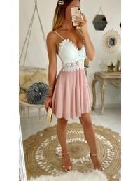 Ma robe voilage rose pâle buste dentelle