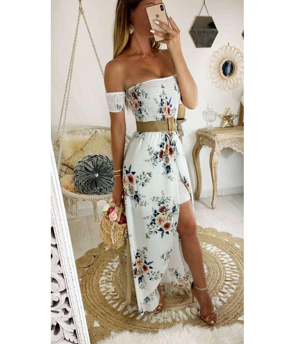 "Ma robe longue bustier ""blanche et jolies roses"""