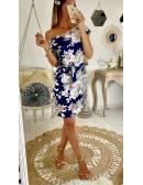 """Ma robe bleue marine fleurie """"manches courtes"""""""