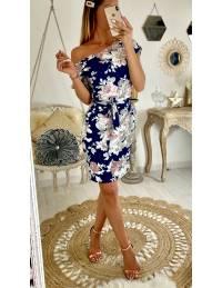 """Ma robe bleue marine fleurie """"manches courtes"""" 2"""