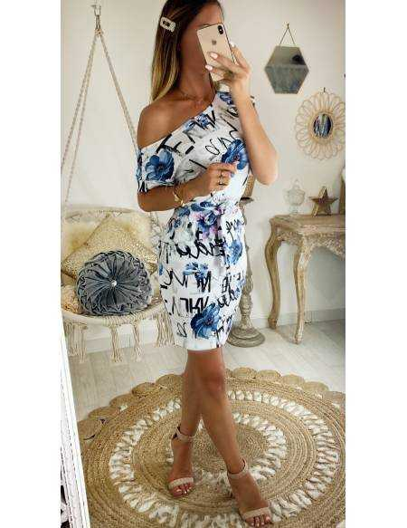 "Ma robe blue flowers ""manches courtes"" 2"