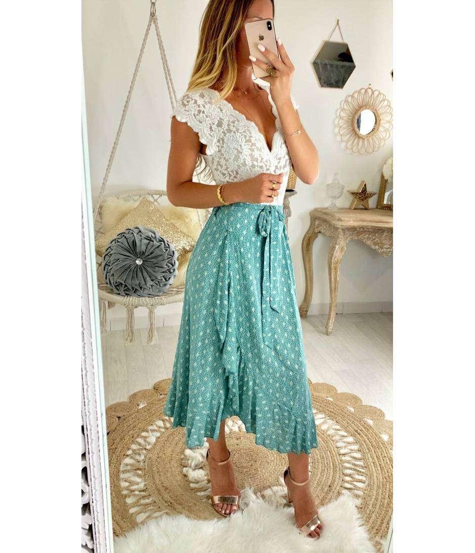 Ma jolie jupe longue verte & flowers