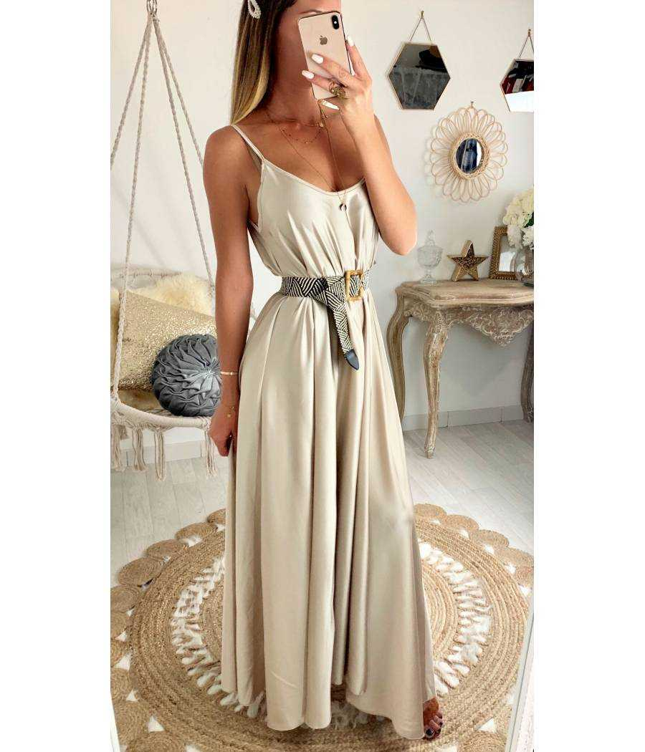 "Ma jolie robe longue beige satinée ""maxi"""