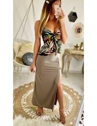 Ma jolie jupe longue taupe boutonnée