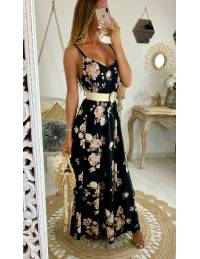 "Ma robe longue black and flowers ""dos lacet"""