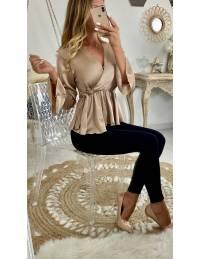 """Ma jolie blouse beige satiné """"cache coeur noué"""""""