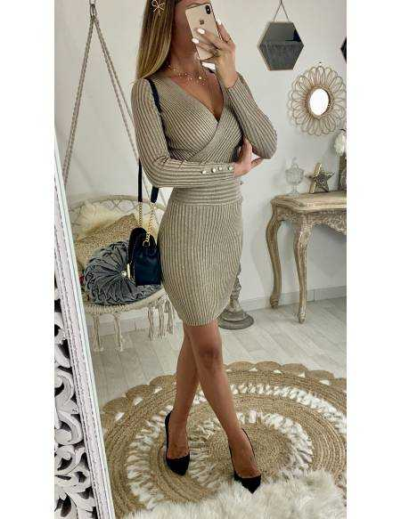 Ma robe beige/taupe en maille lumineuse