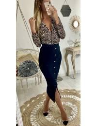 Ma jolie jupe mi-longue noire côtelé et boutons dorés