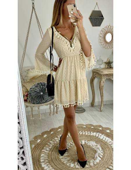 "Ma jolie robe beige ""gold & pompons"""