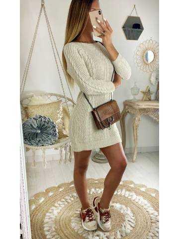 """Ma jolie robe en maille """"basic torsades"""" beige"""