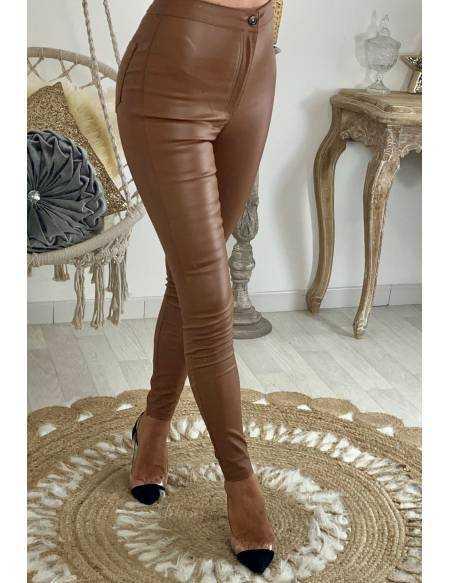 Mon jeans marron/camel enduit et taille haute