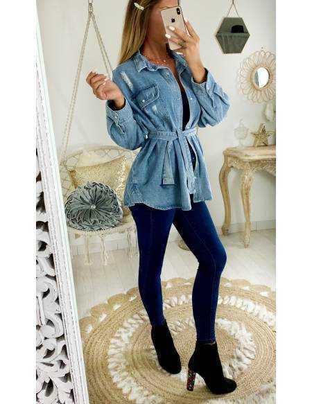 """Ma jolie veste en jeans loose """"poches et ceinture"""""""