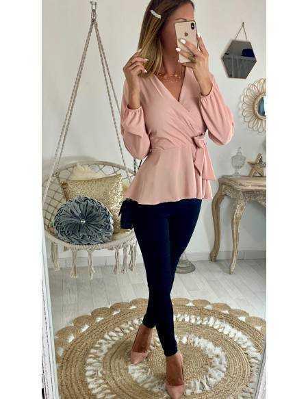 """Ma jolie blouse rose pâle  """"cache coeur noué"""""""