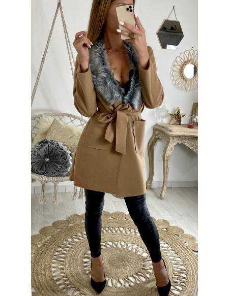 """Mon manteau léger en lainage """"camel et col fourrure"""""""