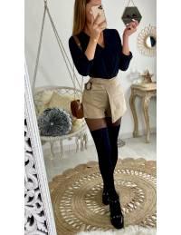 Ma jupe short style daim beige