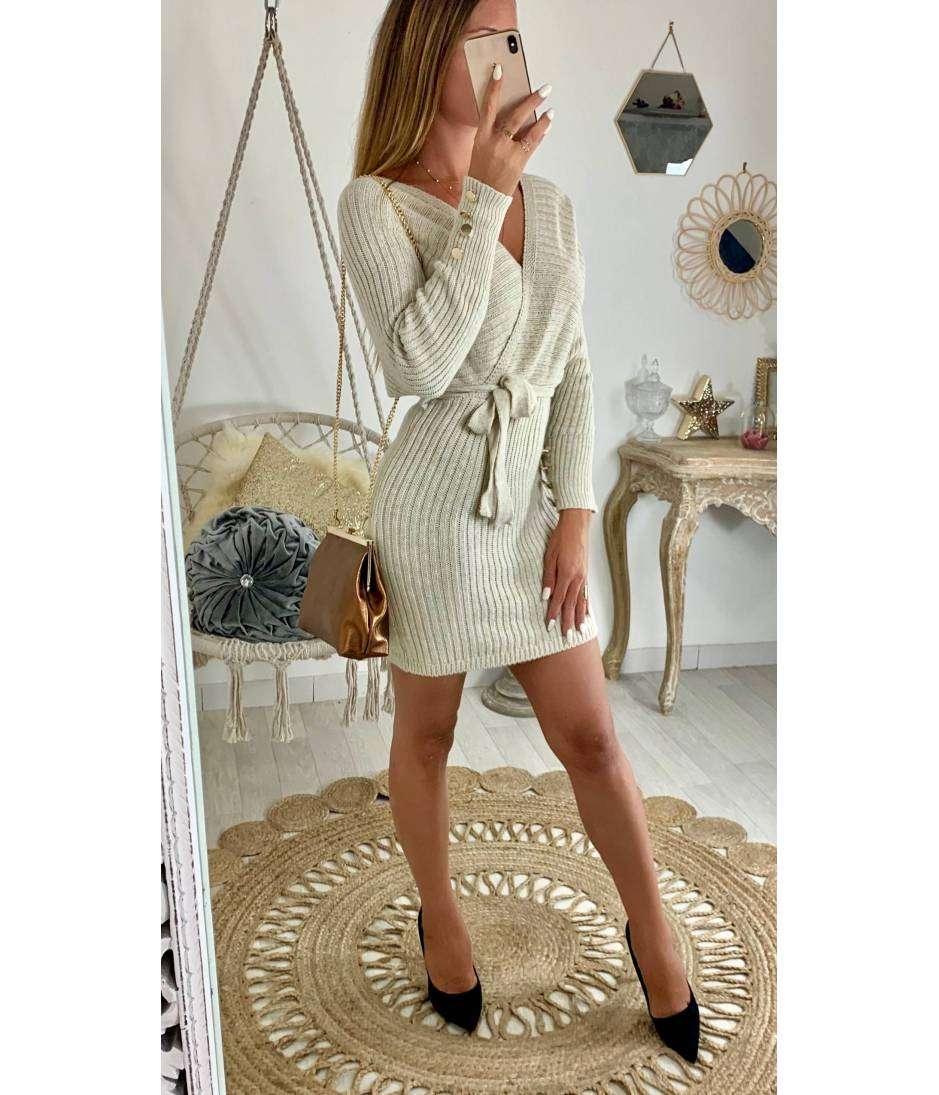"""Ma robe en maille beige """"joli cache coeur"""""""