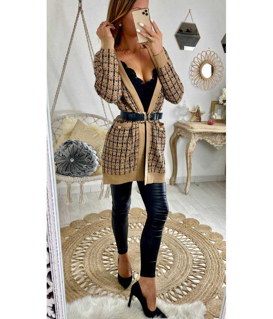 Superbe gilet camel style tweed