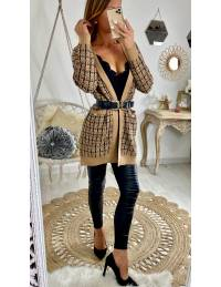 Superbe gilet camel style tweed