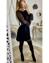 """Ma robe ample noire """"dos noué"""" et manches en voile"""