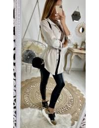 Mon chemisier mi-long beige style velours et sa ceinture