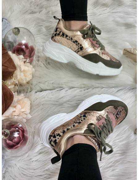 mes jolies sneakers kaki/pink