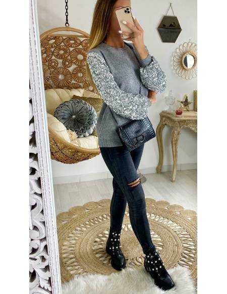 """mon pull gris """"manches glitter"""""""