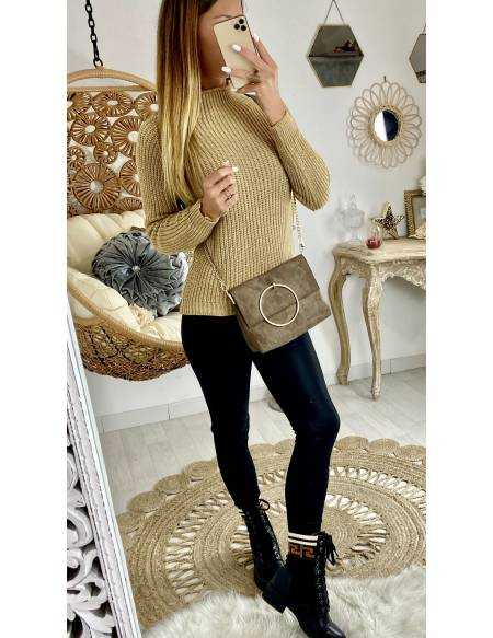 Mon superbe pull lumineux caramel col cheminé