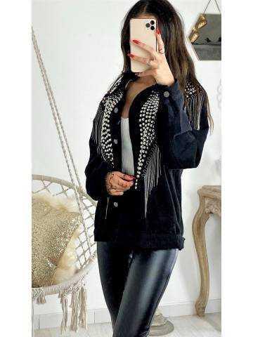 Ma veste en jeans noir cloutée et franges