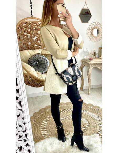 Mon manteau bi-matière beige