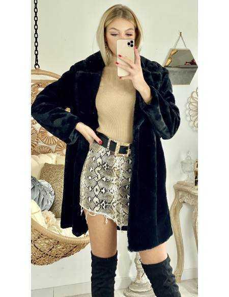 Manteau style fourrure black & loose