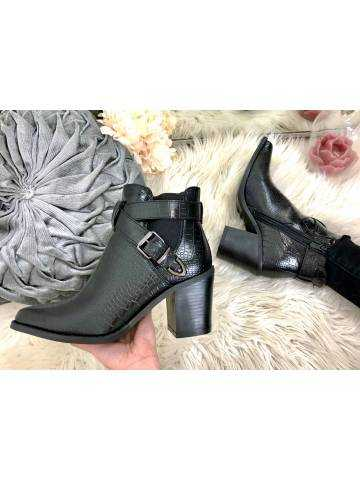 """Mes jolies bottines pointus black croco """"lacets et brides"""""""
