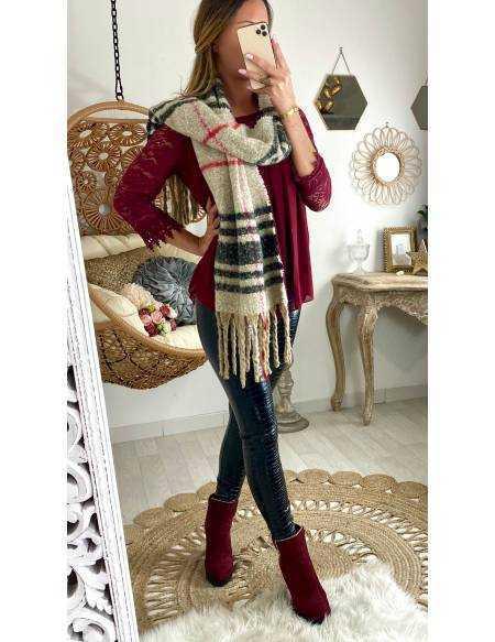 Grande écharpe à carreau beige et rouge