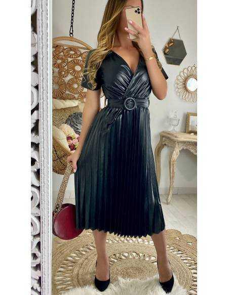 "Ma superbe robe plissée black ""style cuir"""