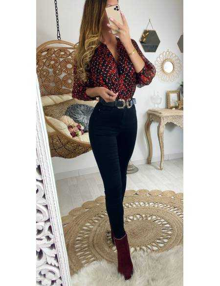 Ma jolie blouse red & gold