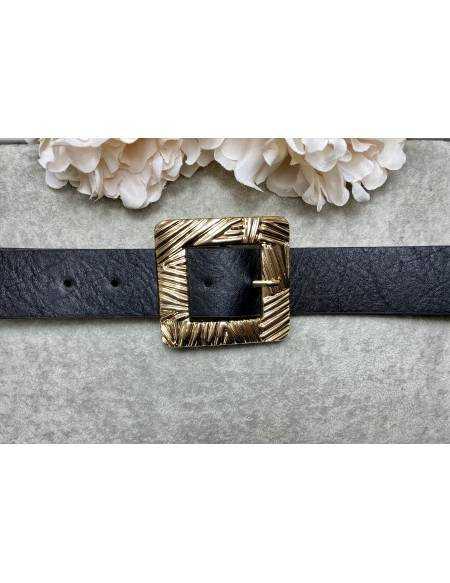 Ceinture noire style cuir boucle carré gold