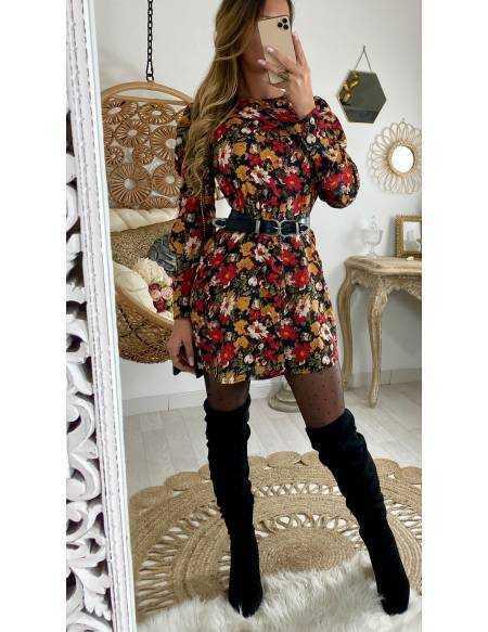 """Ma superbe robe imprimée fleurs """"épaules bouffantes"""""""