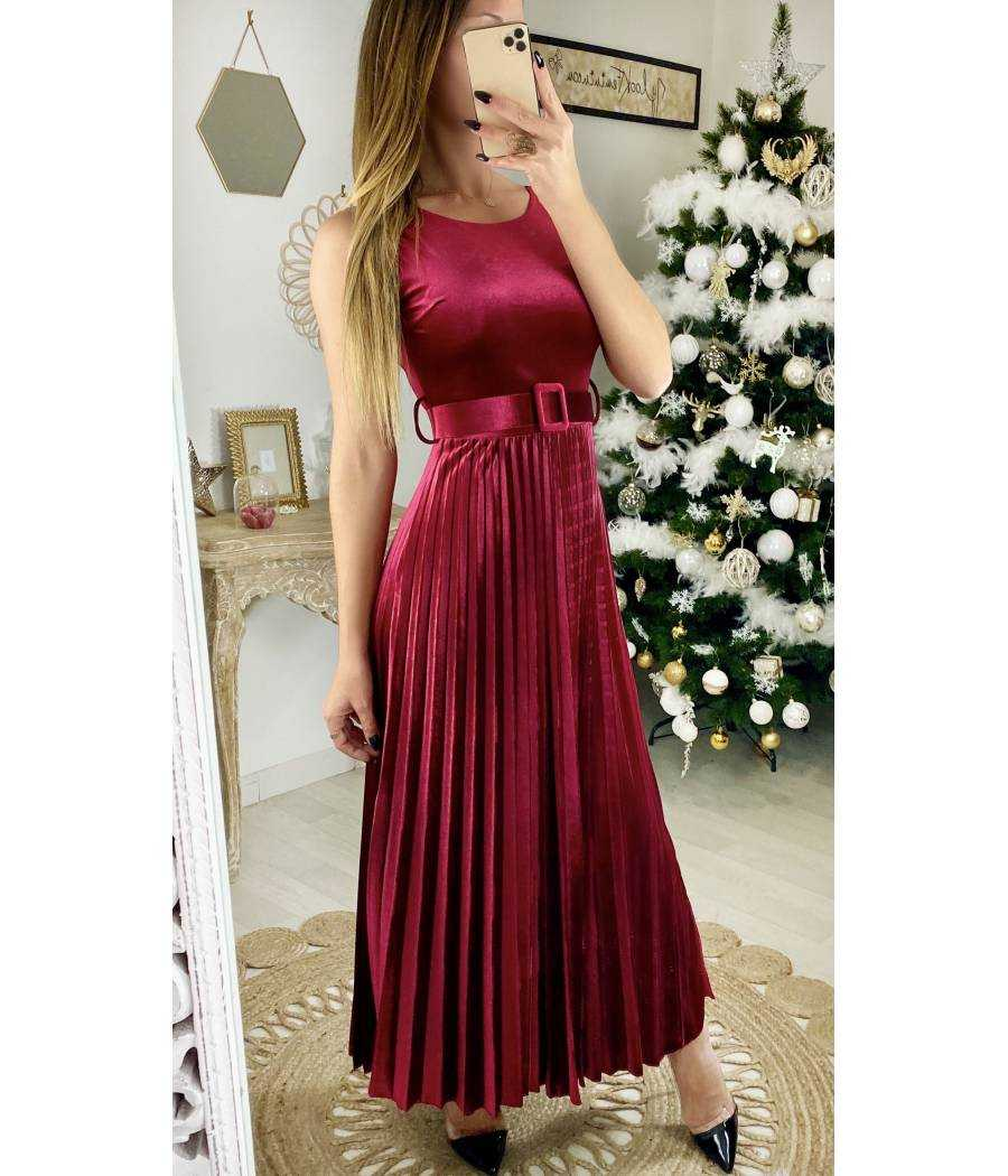 "Ma jolie robe longue bordeaux ""velours"""