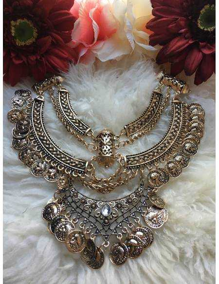 """Gros collier or patiné """"indian"""""""