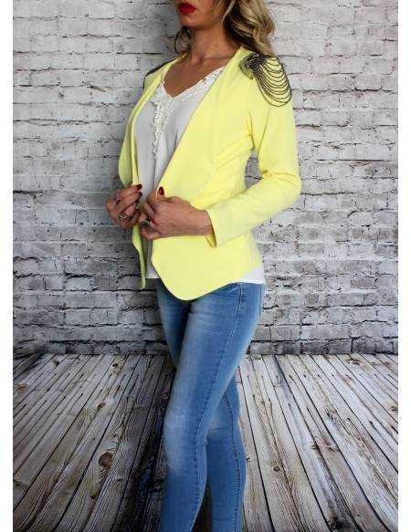 "Petite veste jaune citron ""bijoux épaules"""